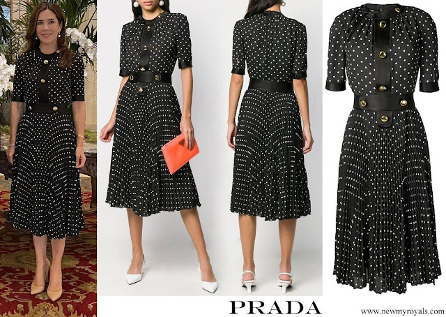 Crown Princess Mary wore Prada Polka Dot Pleated Dress