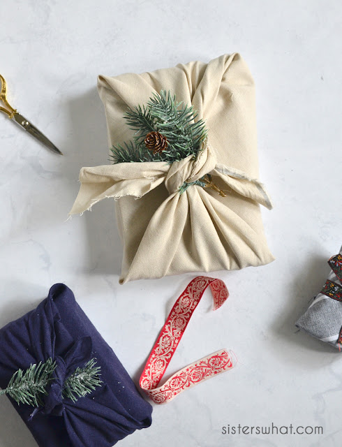 diy fabric wrapped christmas presents