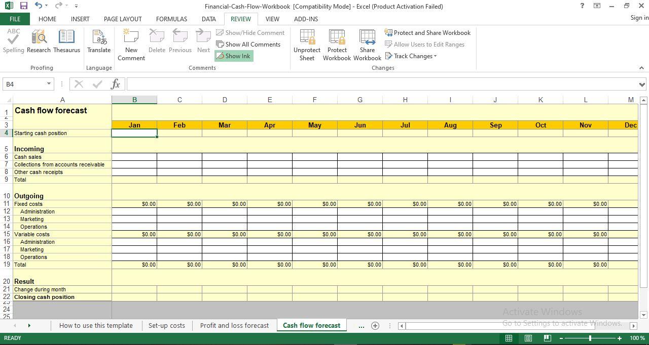 Cash Flow Forecast Excel Template Free Download