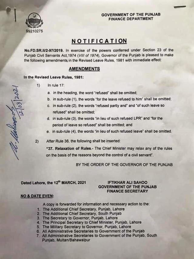 NOTIFICATION REGARDING AMENDMENTS IN REVISED LEAVE RULES 1981