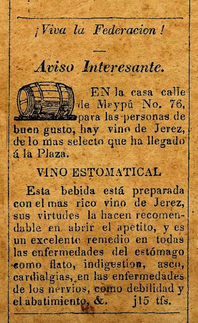 DURANTE EL GOBIERNO DE ROSAS, EN 1842, EL VINO ERA MEDICINAL