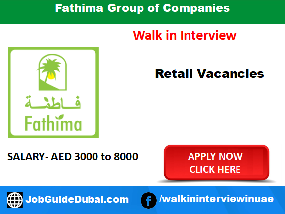 Fathima Group of Companies career for Outlet Sales, Sales Merchandiser and Customer Service Representative job in Dubai