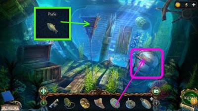 в сетях ловим рыбу и ставим на глобус деталь, нажимаем в игре затерянные земли 3