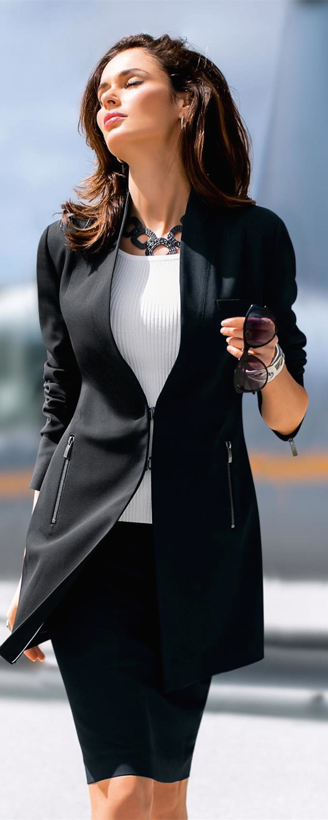 MADELEINE Black Long Blazer