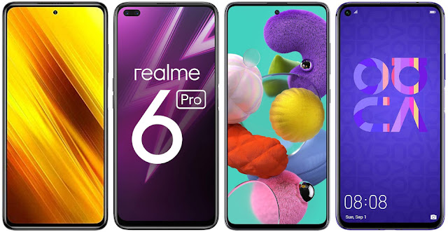Xiaomi POCO X3 NFC 128 GB vs Realme 6 Pro (6 GB RAM) vs Samsung Galaxy A51 vs Huawei Nova 5T