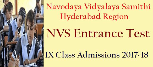 Admissions, JNVS Admissions, Notifications, Novodaya Vidyalaya Samithi, NVS IX Class Admissions, TS Admissions, TS State
