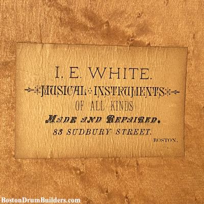 I. E. White makers label, ca. 1870s