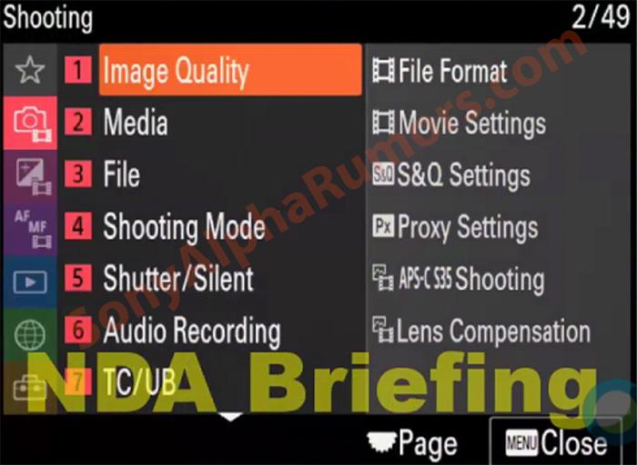 Новое меню камеры Sony A7S III
