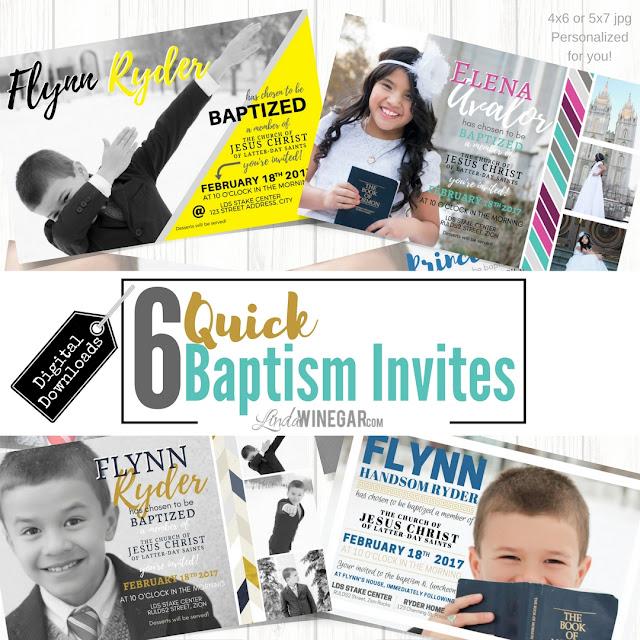 6 Quick LDS Baptism Invites - Linda Winegar