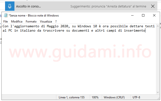 Windows 10 barra di dettatura per scrivere con la voce