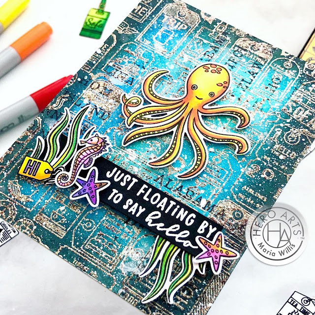 #cardmaking, #cards, #craft, #create, #distressoxideinks, #diy, #handmadecards, #ink, #mixedmedia, #paper, #stamp, Cardbomb, Hero Arts, maria willis, My Monthly Hero Kit August 2020, Tim Holtz, #ocean, #octopus, #copicmarkers, #copics