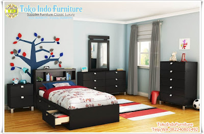 Set Kamar Anak Warna Hitam Minimalis Modern