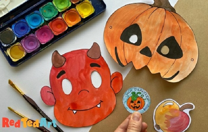 printable halloween pumpkin and devil masks