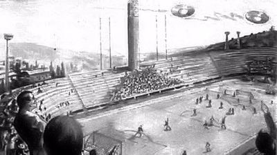 Sketch of UFOs Over Stadio Artemi Franchi- Florence, Italy 10-27-1954