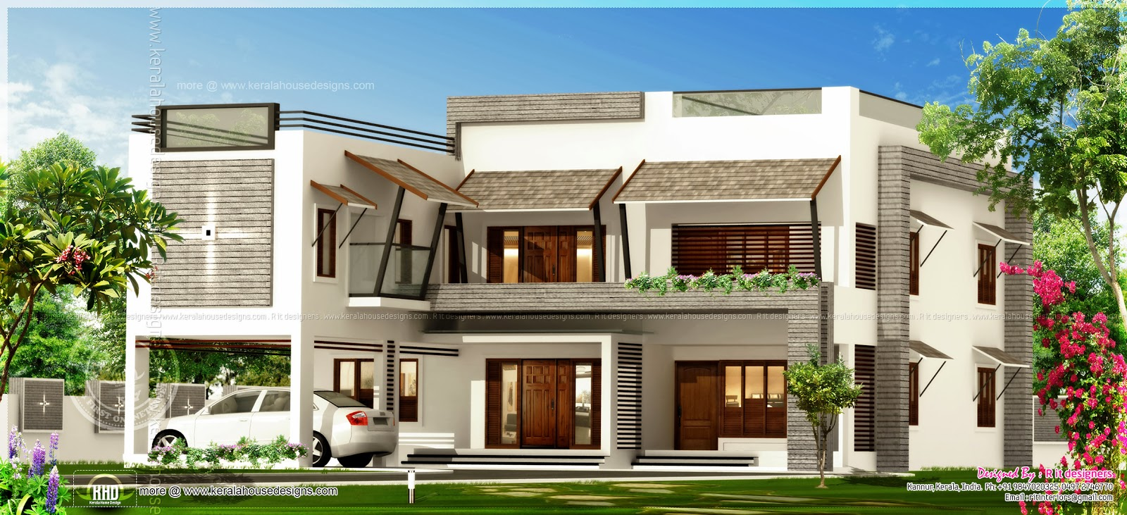 Luxury flat roof house in kannur kerala kerala home for Flat roof elevation