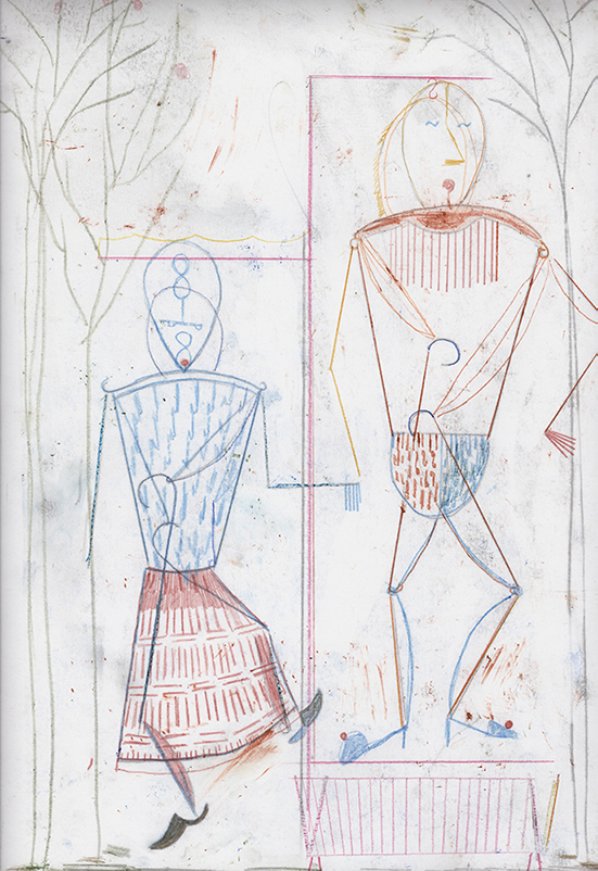 Dirk Zoete Hanging Figures (garden installation) (new clothes), 2019 colour pencil and pigment on paper 46 x 32 cm