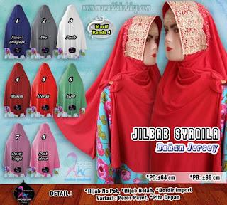 Jilbab instan cantik bahan jersey jeruk brokat import