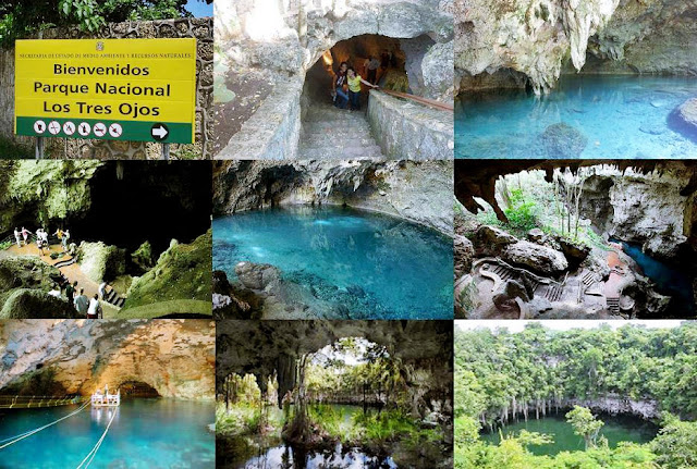 Los Tres Ojos (tres ojos), formado por tres cuevas, rodeado de exuberante vegetación tropical verde, estalagmitas y estalactitas.