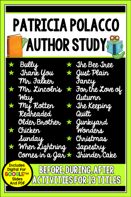 This Patricia Polacco Author Study includes materials for *13* titles and an author research lapbook for a total of 560+ pages of materials. Patricia Polacco is a favorite for teachers and students. Her books are filled with tier 2 vocabulary and so many relevant social themes. Using Polacco's books in guided reading or as a mentor text for writing helps your students far beyond reading and writing. Her books help children for life! The bundle now includes a Digital using Google Slides TM version and a PDF printable version for expanded options.