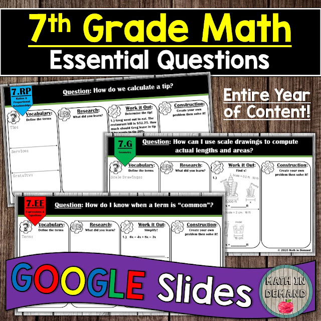 7th Grade Math Essential Questions Distance Learning