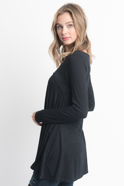 Shop for Black pom pom trim long sleeve jersey tunic top on caralase.com
