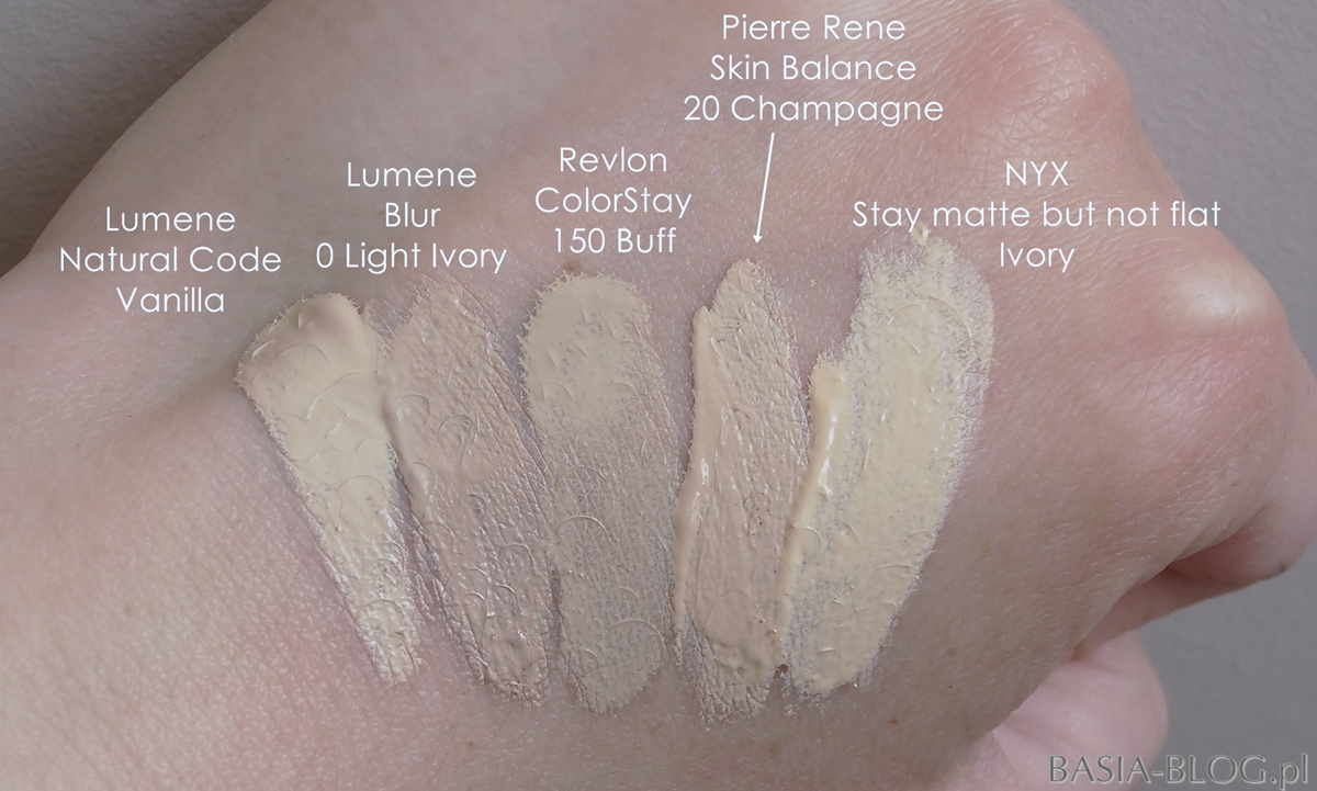 Lumene Natural Code 10 Vanilla, Lumene Blur 0 Light Ivory, Revlon Colorstay Combination/Oily 150 Buff, Pierre Rene Skin Balance 20 Champagne, NYX Stay matte but not flat 01 Ivory