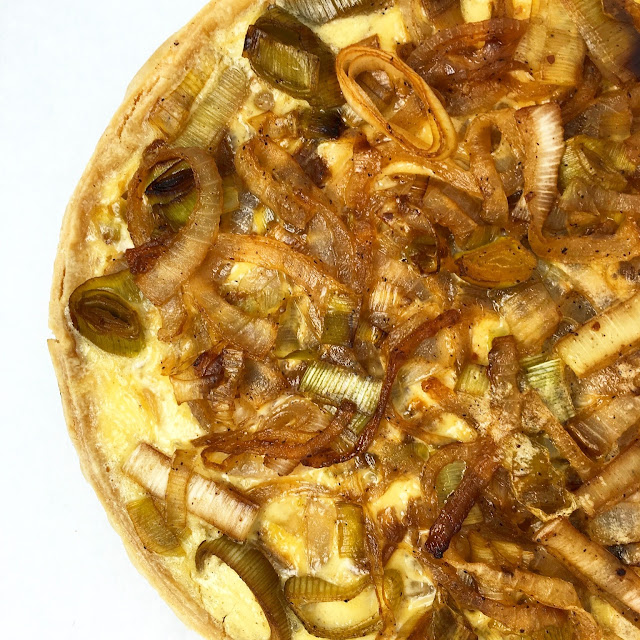 Close-Up of Onion and Leek Tart
