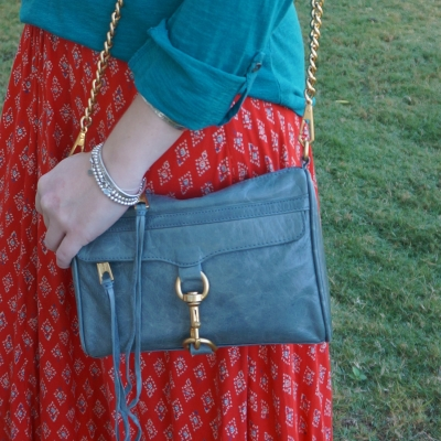 Rebecca Minkoff 2012 sky grey mini MAC bag with teal and red printed maxi skirt outfit | awayfromblue