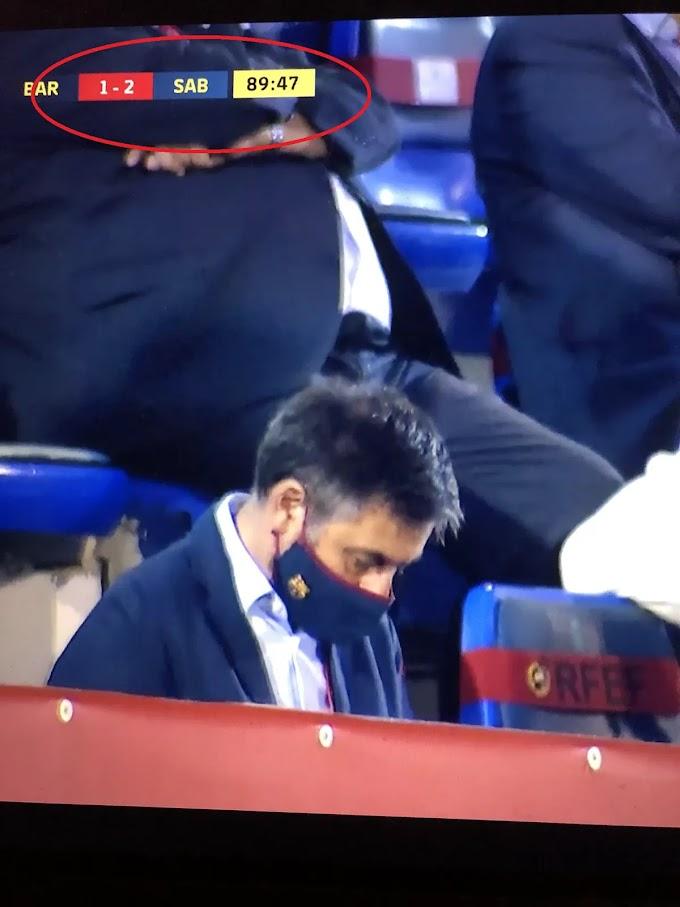 Barcelona president Bartomeu caught sleeping during Barcelona B 2-1 defeat to Sabadell