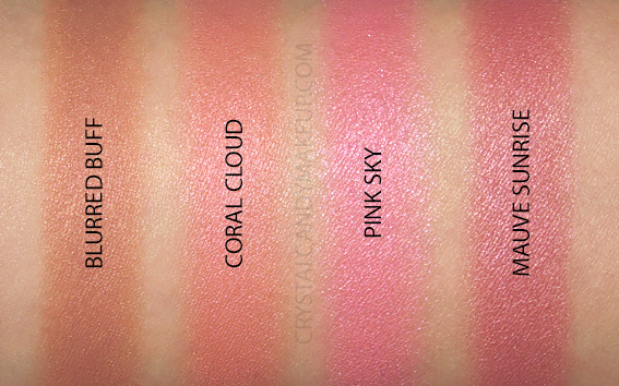 BareMinerals Bounce Blur Blushes Review Swatches Pink Sky Coral Cloud Mauve Sunrise Blurred Buff