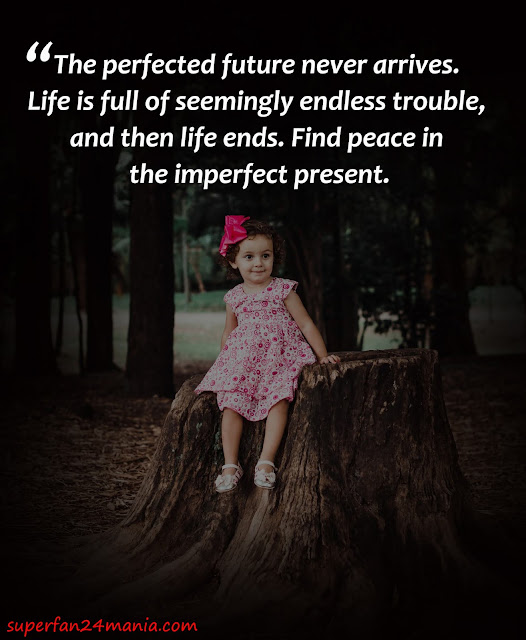 The perfected future never arrives. Life is full of seemingly endless trouble, and then life ends. Find peace in the imperfect present.