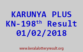 KARUNYA PLUS Lottery KN 198 Results 01-02-2018