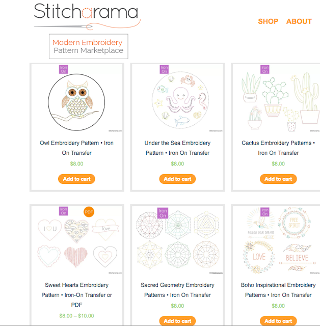 Screenshot of Stitcharama store, as featured by floresita on Feeling Stitchy