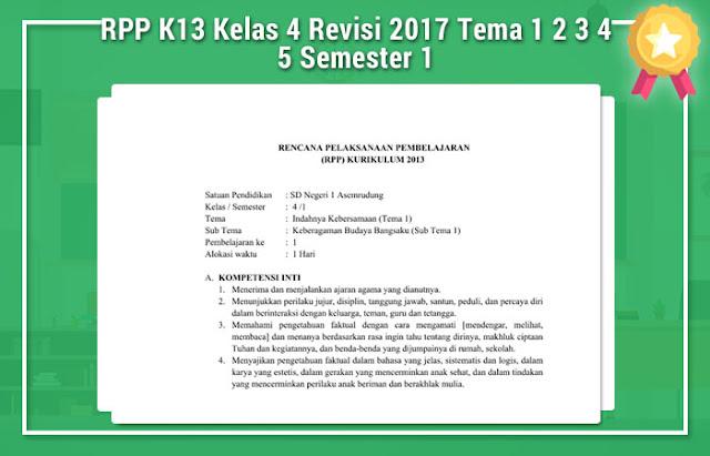 RPP K13 Kelas 4 Revisi 2017 Tema 1 2 3 4 5 Semester 1