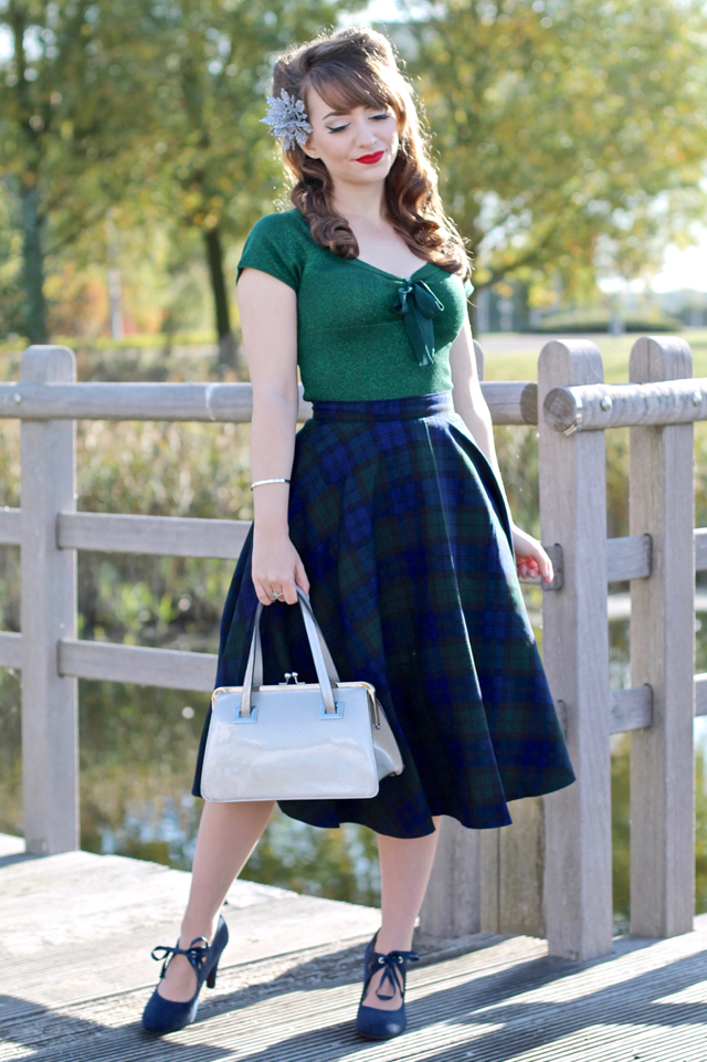 Hell Bunny Angette top, Doralee skirt, Tippi bag with snowflake fascinator