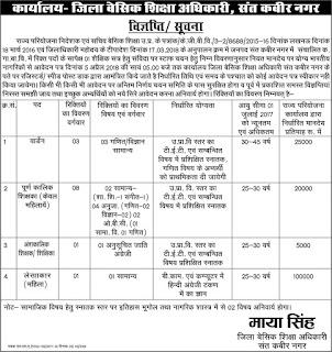 UP BSA Sant Kabir Nagar Recruitment 2018 Samvida Bharti