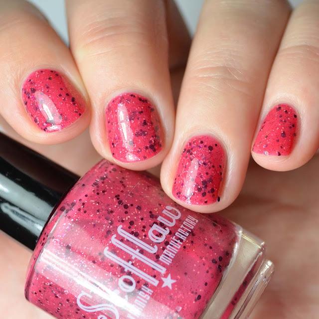 magenta nail polish swatch