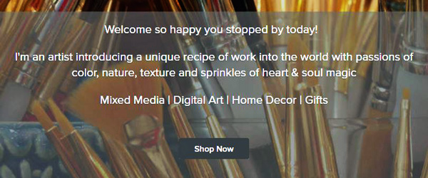 online shopping banner for kimberly mcguiness art and design with paint brushes in the background