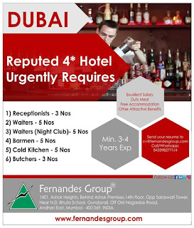 Four Star Hotel Urgently requires for Dubai
