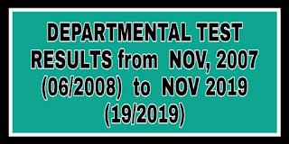 DEPARTMENTAL TEST RESULTS from  NOV, 2007 (06/2008)  To  NOV 2019 (19/2019