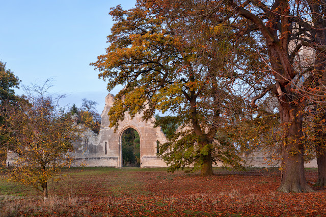 Autumn colour covers the grounds outside the Folly on the Wimpole Estate