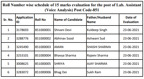 Roll Number wise  evaluation schedule for the post of Lab. Assistant (Voice Analysis) Post Code-851 -HPSSC Hamirpur