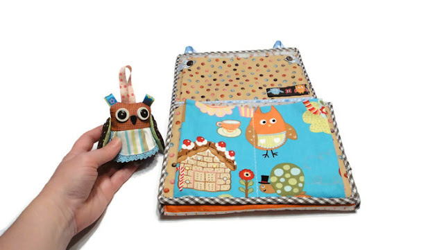 К детским кармашкам в садик - мягкая игрушка Сова. Текстильный карман для детской комнаты