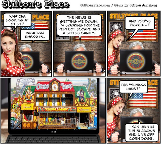 stilton's place, stilton, political, humor, conservative, cartoons, jokes, hope n' change, time off, vacation, break, carnival, midway, funhouse