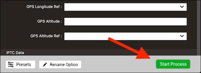 """انقر فوق """"بدء العملية"""" لإزالة بيانات EXIF وحفظ الصورة"""
