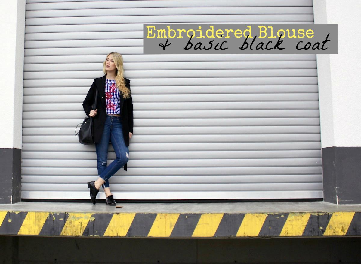 Perfekte schwarze Mantel Embroidered Blouse Dresslily mister*lady www.theblondelion.com Fashion Outfit Fashionblogger Stuttgart