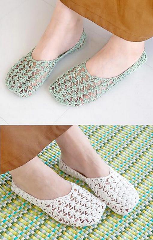 Free Crochet Pattern Of Sweet Lace Slippers