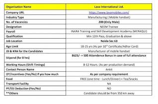 12th pass ,ITI All Trade, Diploma, Graduation Job in Lava Company Sector 63, Noida  Under Neem Trainee