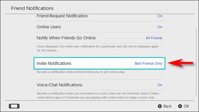 """في تبديل إعدادات المستخدم ، اضبط """"دعوة الإشعارات"""" إلى """"أفضل الأصدقاء فقط""""."""