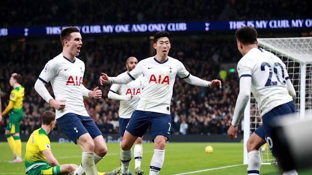 Video Cuplikan Gol: Tottenham Hotspur 2-1 Norwich City (Premier League)